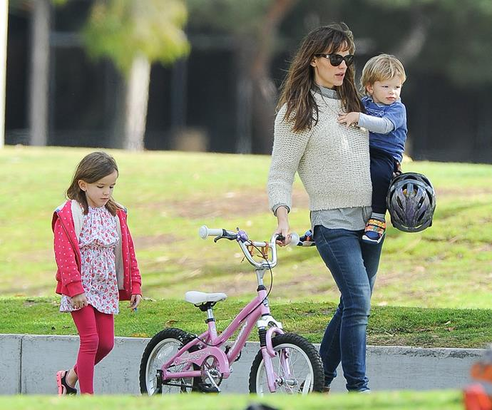 """Jennifer Garner's advice for tackling tantrums and living to tell the tale? Stay consistent. """"My littlest one [Samuel, now four] saw something he wanted. I had just said, 'We're not buying anything,' and he threw a fit. The people at the store said to me, 'Please let us just give this to you' because he was so unhappy. And I said, 'I'm sorry that he's throwing a fit in your store and you're so sweet to want to give this to him. And thank you for asking me first. But he's going to have to throw a fit.' I said no. No is no... It's not pretty. I don't think that I'm always the best at it but I try my best to be consistent and for them to know what they can expect from me,"""" she told *Us Magazine*."""
