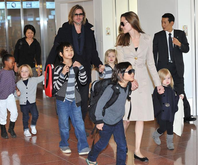 The Jolie-Pitt brood during happier times.