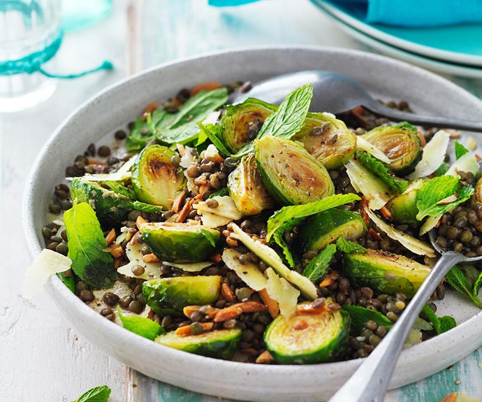 "Go for dishes like [Roasted brussels sprouts and lentil salad](http://www.foodtolove.com.au/recipes/roasted-brussels-sprouts-and-lentil-salad-27311|target=""_blank""), which combine vegetables and legumes."