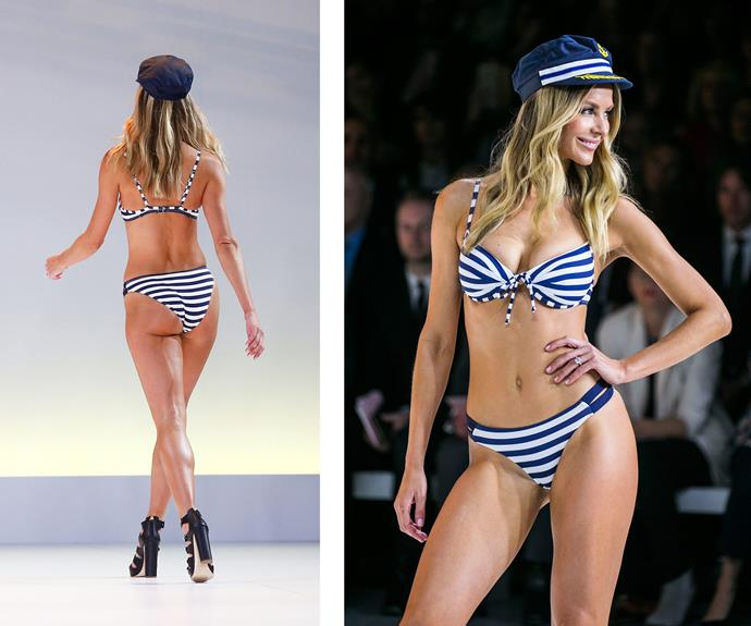 And while the 32-year-old strutted her stuff in a nautical-themed bikini...