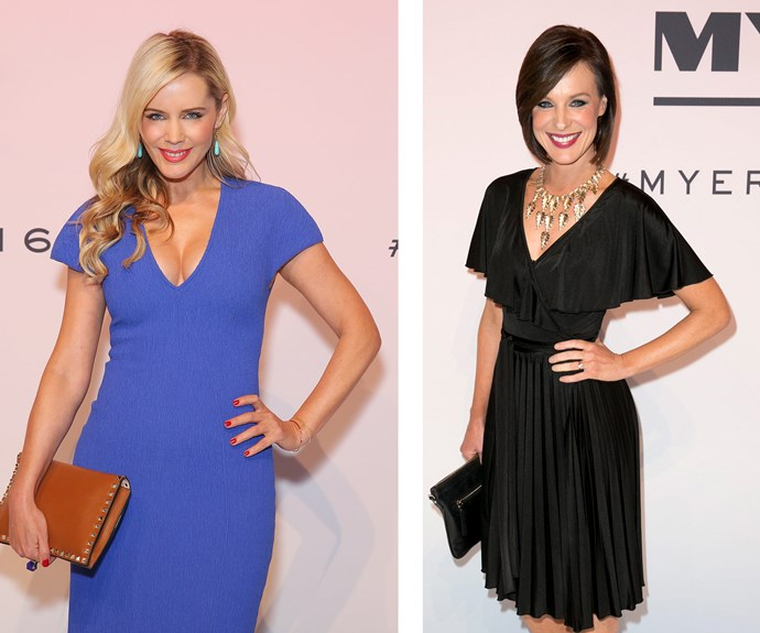 TV presenter Sophie Falkiner (L) stunned in bright blue while news presenter Natarsha Belling opted for a classic little black dress.
