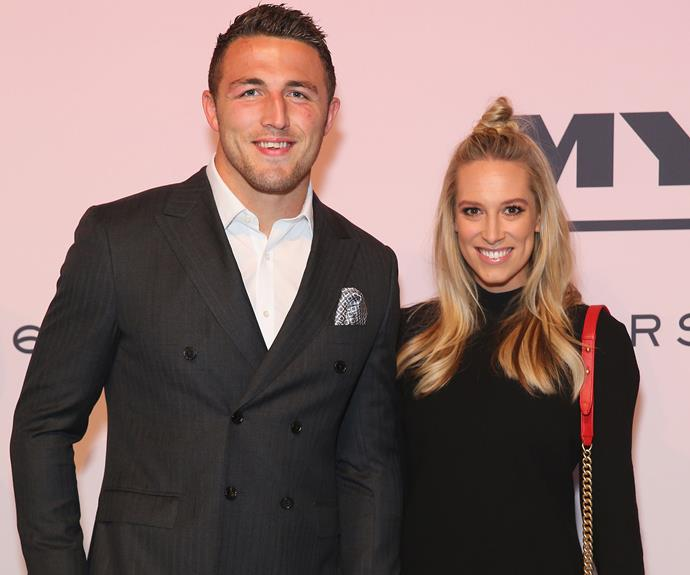 """A pregnant Phoebe Burgess, pictured here next to hubby Sam, also showed off her burgeoning belly while admitting to *MailOnline* that her biggest cravings currently consist of """"apples and cheeseburgers!"""""""