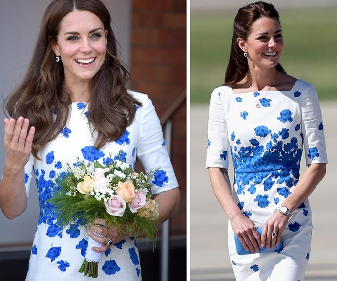 "[The pretty brunette recycled her favourite LK Bennett dress, which she wore back in 2014, during her tour of Australia.](http://www.womansday.com.au/royals/royal-style/duchess-catherine-frugal-fashion-14535|target=""_blank"")"