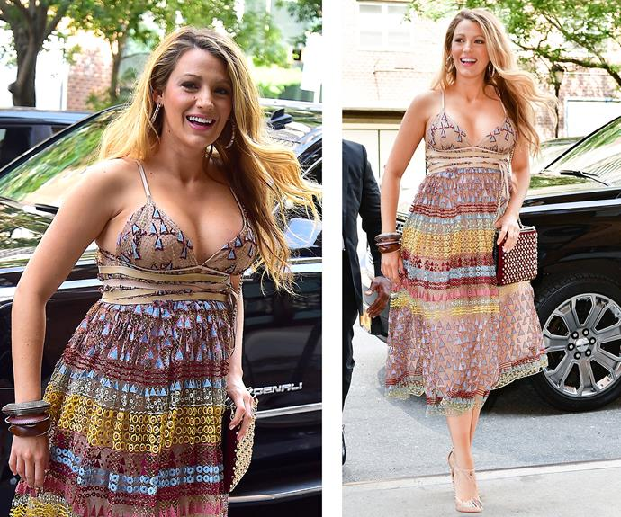 What a way to make an entrance! The expectant-mama recently stepped out in New York donning what is perhaps the prettiest summer dress we've ever laid eyes on.