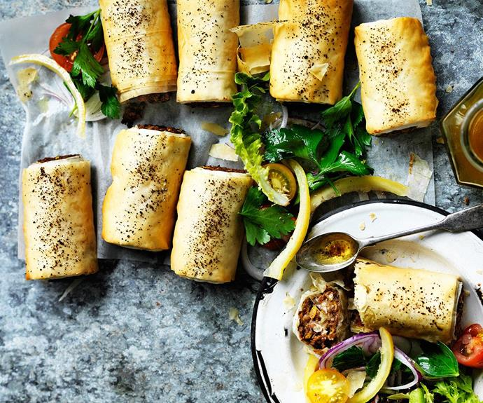 "Substitute meat with lentils using this [lentil sausage rolls with tomato sumac salad](http://www.foodtolove.com.au/recipes/lentil-sausage-rolls-with-tomato-sumac-salad-30853|target=""_blank"") recipe."