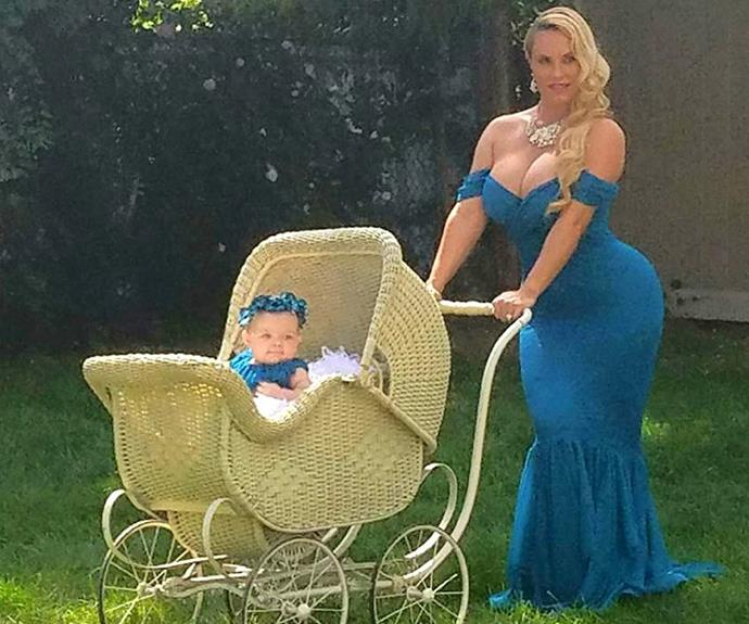 "Coco Austin and her little bub Chanel Nicole have mother-daughter matching down pat! The model shared this teaser snap from a mystery photoshoot with the caption, ""Chanel and I work well together in photoshoots! Here's a little candid shot for ya! More to come!"""