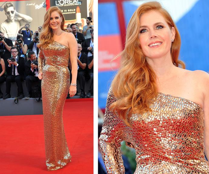 Amy Adams had the Midas touch with her glitzy gold frock.