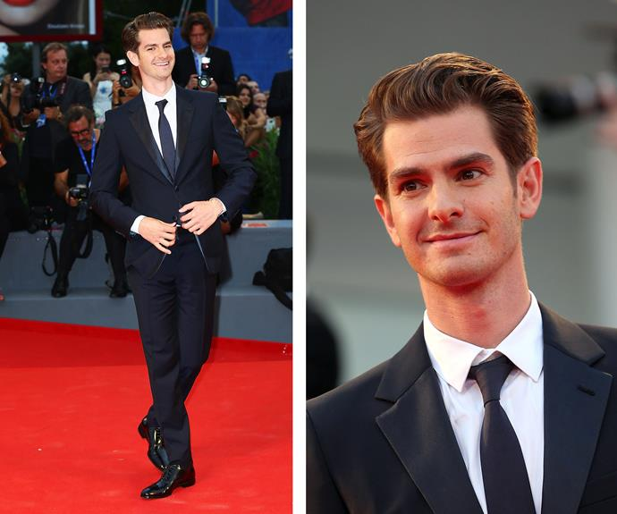 Spiderman's Andrew Garfield was a dapper chap in a suit and tie.