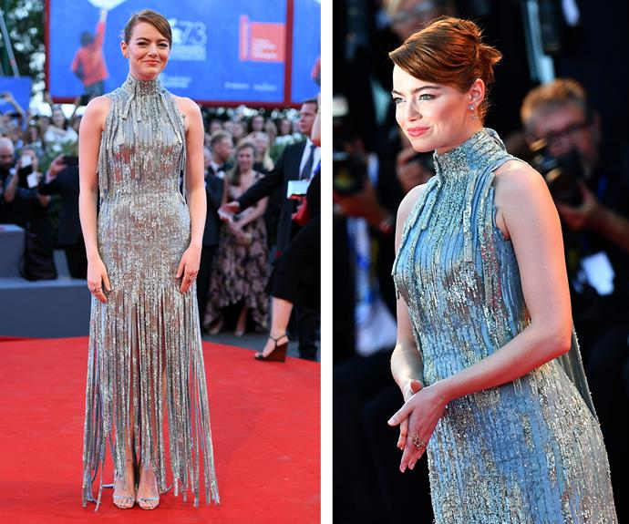Emma Stone was a vision in a fringed silver Atelier Versace number.