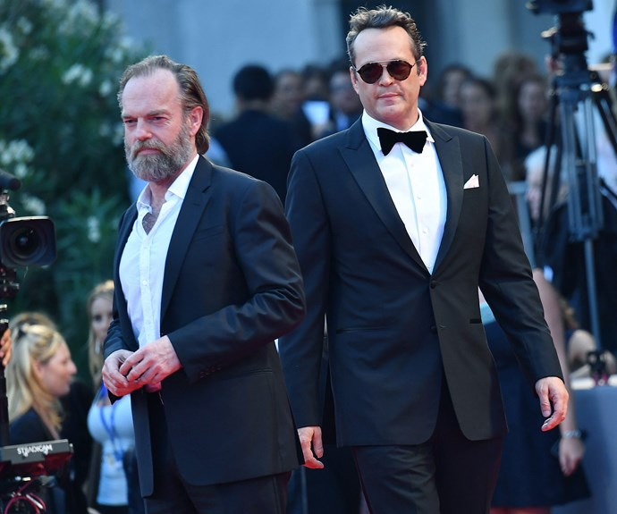 Hugo Weaving and Vince Vaughn looked the part in matching black tuxedos.