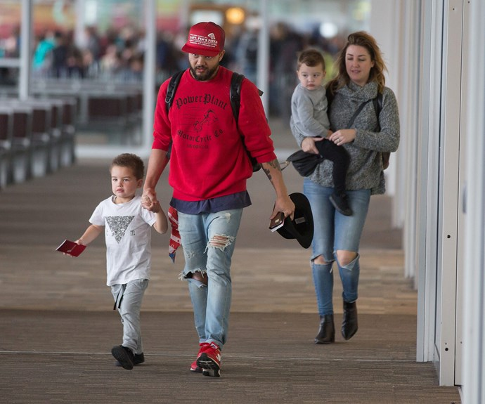Fresh from overseas Guy Sebastian returned home to his wife Jules and their boys, Hudson and Archer.
