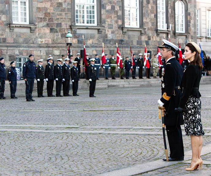 Frederik and Mary paid their respects at the parade.