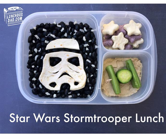 Turn a simple wrap into a *Star Wars* Stormtrooper. (Pic/@lunchboxdad)