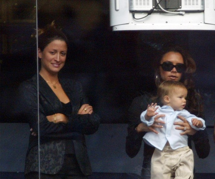Rebecca Loos, Victoria Beckham and her son Romeo watch David play for Real Madrid back in 2003.