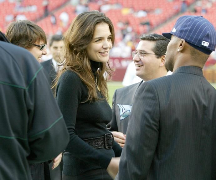 A long time ago... back in 2006, Katie Holmes, Tom Cruise and Jamie Foxx catch up before a Redskins-Vikings NFL game.