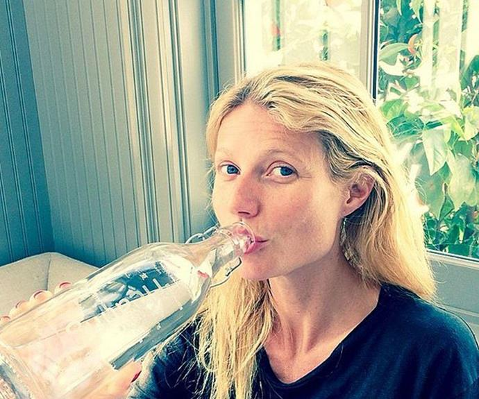 Gwyneth Paltrow, 43, credits plenty of water for her clear complexion.