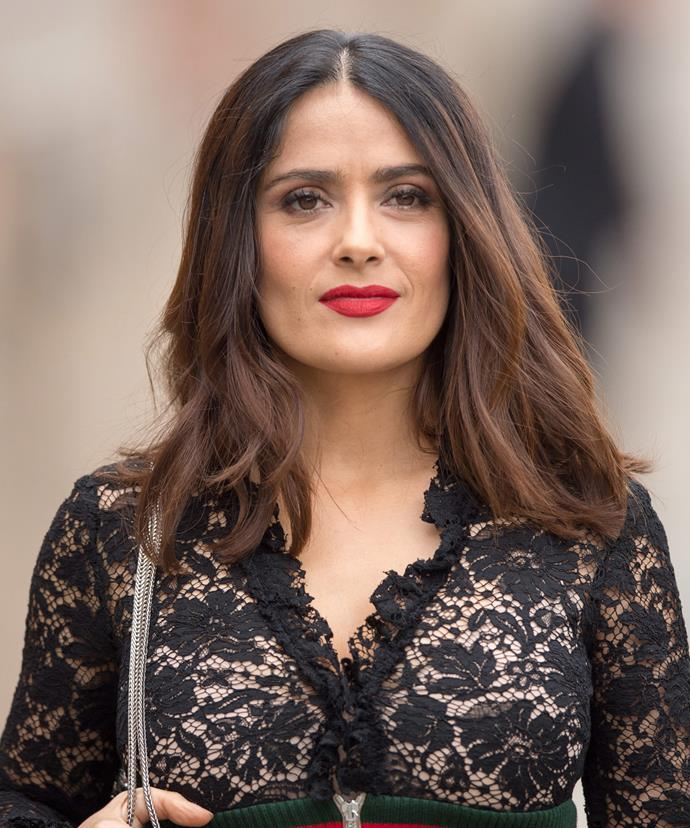 """Salma Hayek, 49, recently spoke to *InStyle* about her insecurities as she approaches her next birthday. """"Well I am entering my fifties so your body confidence isn't that good. I think it depends on the day, for everybody,"""" she says."""