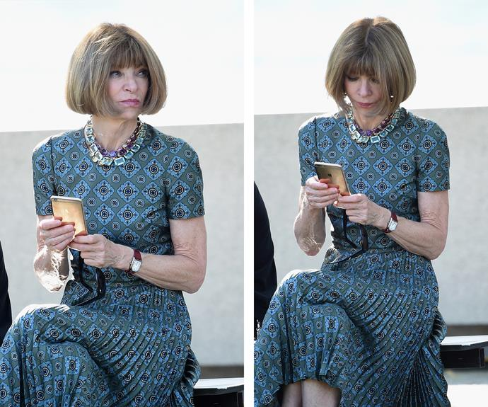 Fashion royalty Anna Wintour appeared bored as she waited for the show to begin.