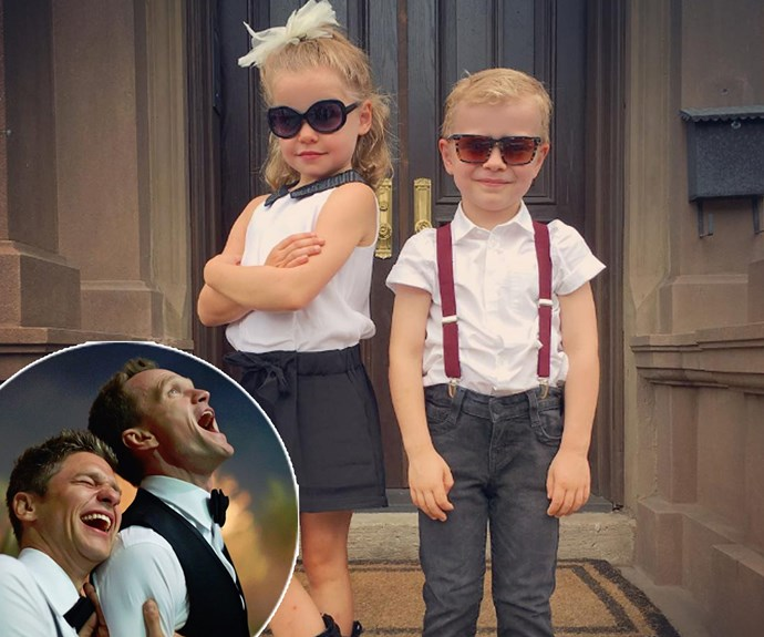 """Neil Patrick Harris couldn't be more excited for his darling kids, daughter Harper, and son, Gideon, as they prepare for their very first day of kindergarten! Sharing the twins' first day of big school photo, the proud dad penned, """"Kindergarten fits these two well."""""""