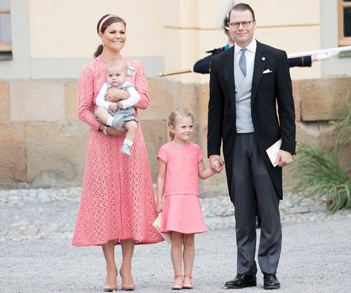 Crown Princess Victoria and her husband Prince Daniel enjoyed the momentous occasion with their children  Princess Estelle, four, and Prince Oscar, six-months.