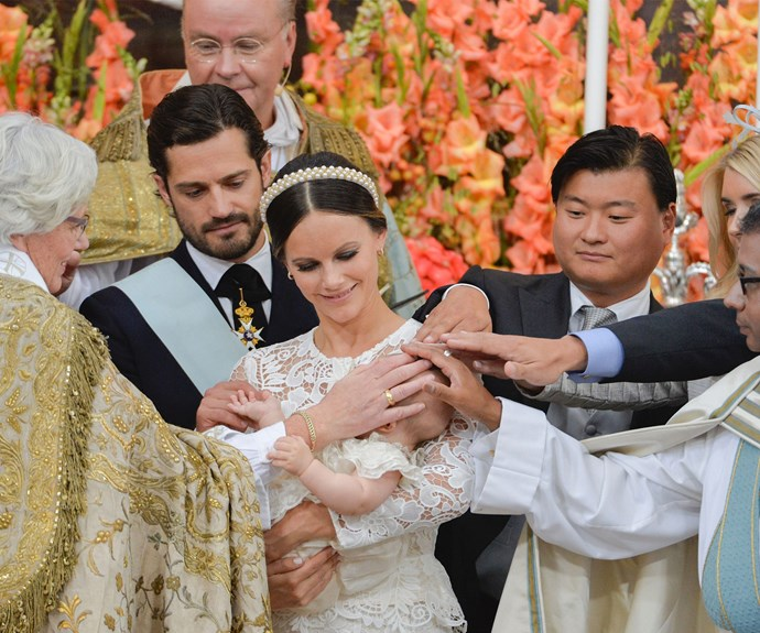 Future Queen of Sweden, Crown Princess Victoria, Princess Sofia's sister, Lina Frejd, and her childhood pal, Wendy Larsson, were announced as godmothers while Carl Philip's friend and best man, Jan-Åke Hansson, and the prince's cousin, Victor Magnuson serve as the bub's godfathers.