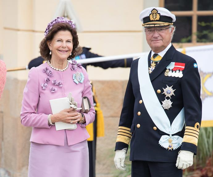 Queen Silvia and King Carl Gustaf were delighted to see their family come together for the big day.