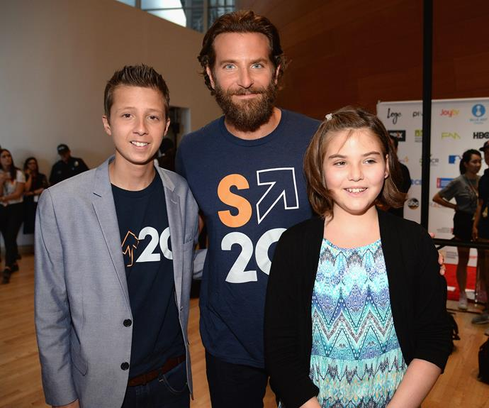 Bradley Cooper with patients Mitch Carbon and Emily Whitehead.