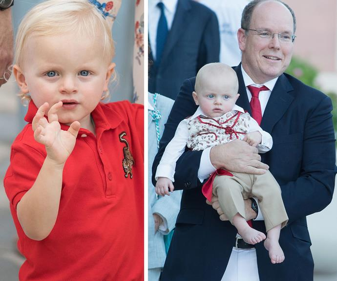 The darling tot is growing so quickly! (R) Jacques and his dad at the annual traditional 'Pique Nique Monegasque' on August 28, 2015.