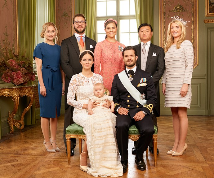 The prince's godparents will always be there to guide him through life (back row left to right): Lina Frejd, Victor Magnuson, Crown Princess Victoria, Jan-ake Hansson, and Wendy Larsson.