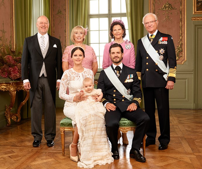 Sofia's parents, Marie and Erik Hellqvist joined King Carl XVI Gustaf and Queen Silvia for a sweet grandparents' portrait to mark the joyous occasion.