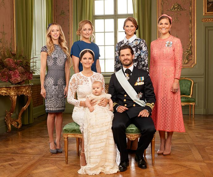 The young family were joined by Princess Sofia's sisters Sara Hellqvist, Lina Frejd (also a godmother to the baby prince) along with Carl's older sisters, Princess Madeleine of Sweden, and Crown Princess Victoria of Sweden.