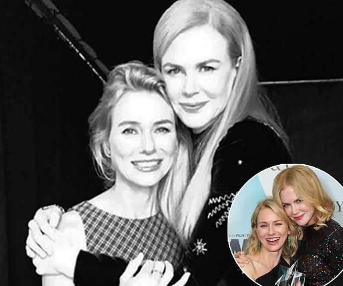 "Longtime best friends Naomi Watts and Nicole Kidman reunited just for a minute while they were both at the Toronto International Film Festival over the weekend. Naomi documented their fleeting reunion with a happy snap her Instagram, captioned: ""When you run into your #bff even for one second, it's a winning moment. #loveyoutothemoon"". **Relive the moment the high school pals shared a smooch in the next slide!**"