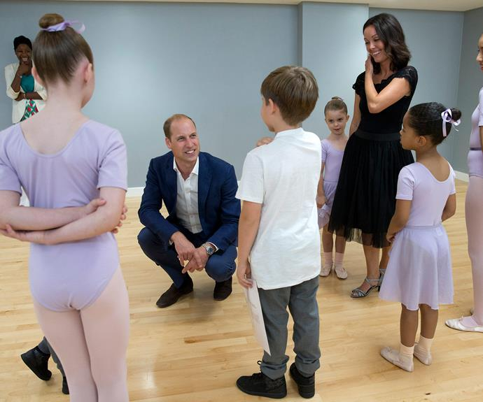 The future King later watched a ballet class, to see how it's really done!