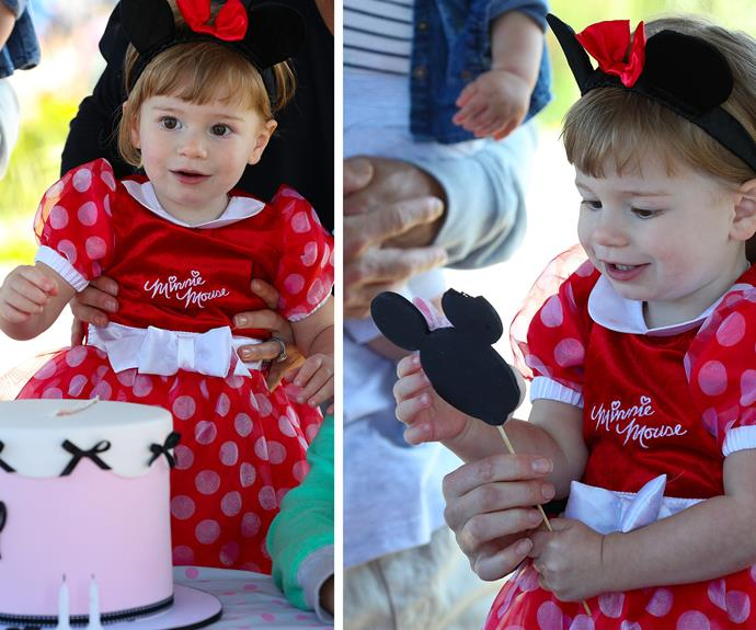 """This Mini Mouse lollipop definitely trumps my cake!"""