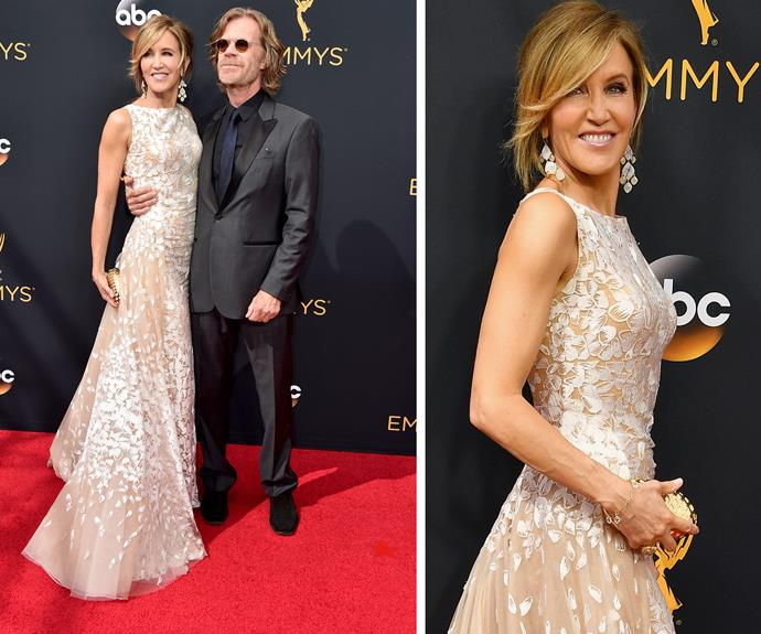 Felicity Huffman and her hubby William H Macy cuddle up.