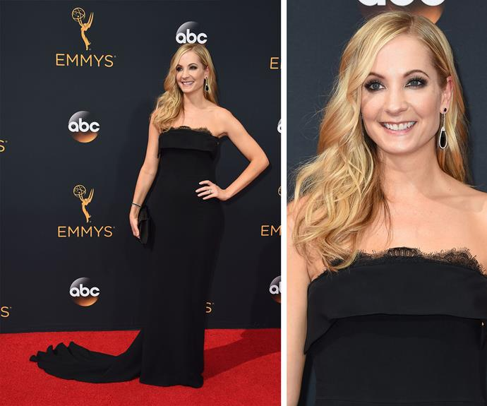 Downton Abbey's Joanne Froggatt kept things classic in a black, strapless gown.