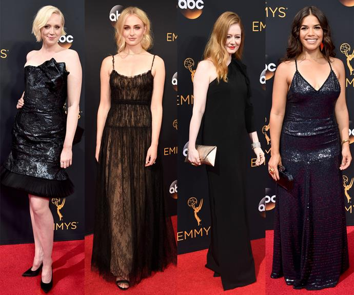 Beauties in black! Gwendoline Christie, Sophie Turner, Miranda Otto and America Ferrera all opted for the sexy hue.