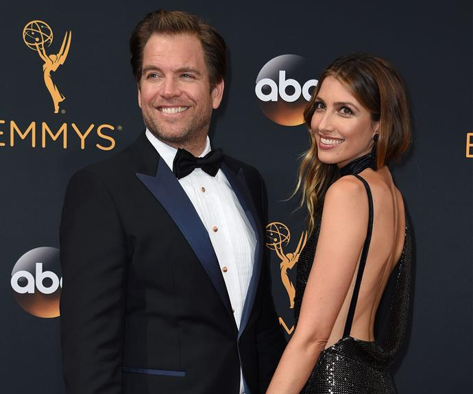 Michael Weatherly and wife Bojana-Jankovic cuddle up.