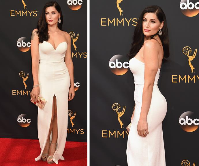*Transparent* actress Trace Lysette showed off her trim pins in a white dress which sported a high-cut split.