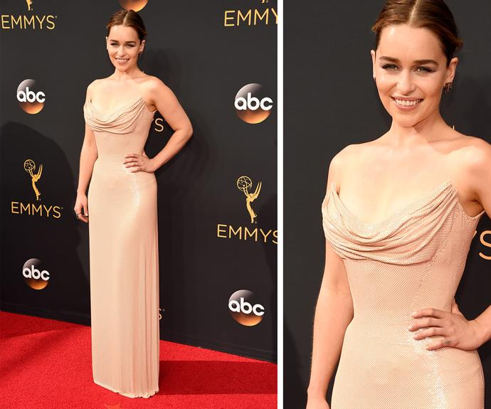 Emilia Clarke opted for a nude-colouerd Atelier Versace number. **WATCH: Emilia jokes around with Matt LeBlanc. Gallery continues.**