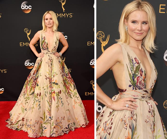 """I wanted to do something more whimsical,"" Kristen Bell explained to *E! News* of her look."