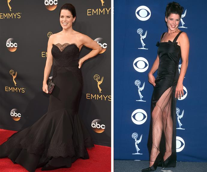 Now and then! Neve Campbell at this year's event and on the right, at the 49th Annual Primetime Emmy Awards at Pasadena Civic Auditorium in Pasadena, California in 1997.