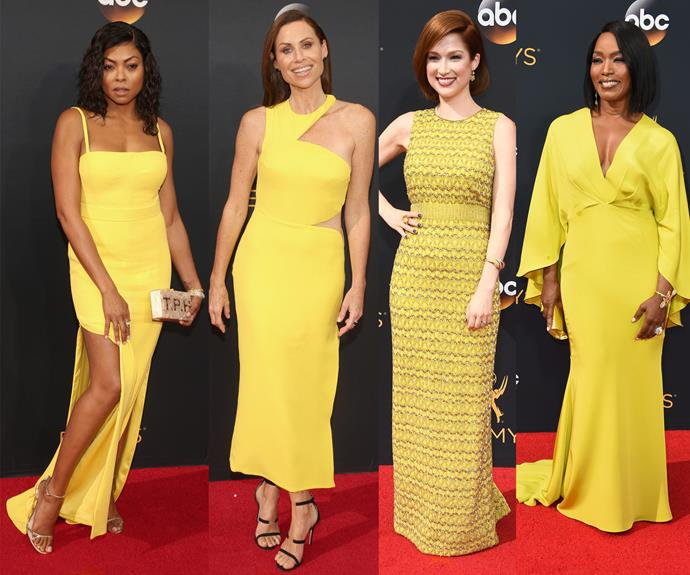 Hello, sunshine! Taraji, Minnie Driver, Ellie Kemper and Angela Bassett packed a punch in these yellow dresses.