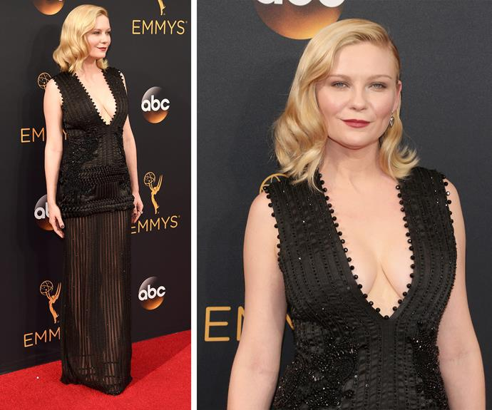 Kristen Dunst worked a multi-layered look.