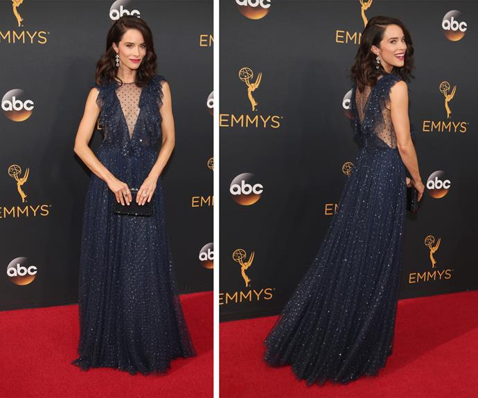 Abigail Spencer rocked a navy ensemble.