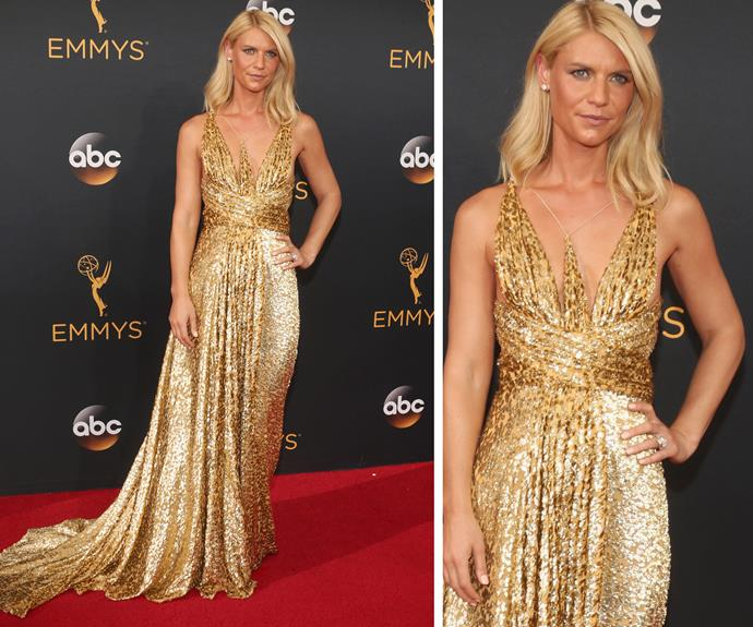 Claire Danes glowed in an eye-catching gold gown.