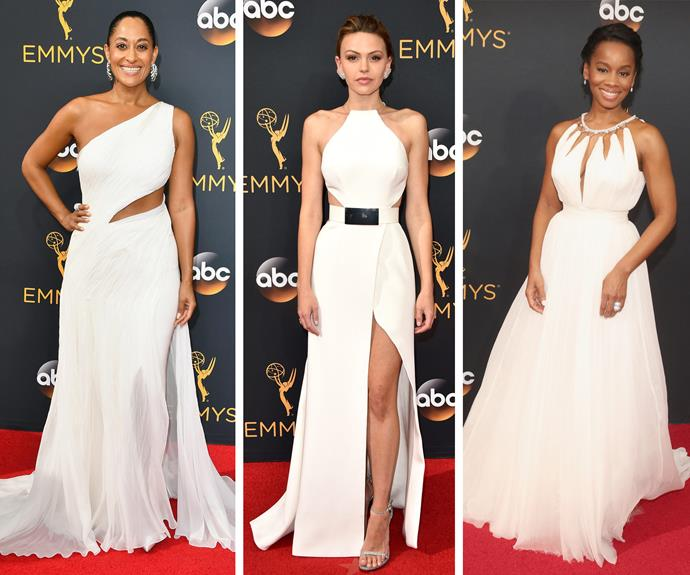 It's all white: (L-R) Diana Ross' daughter and actress Tracee Ellis Ross, Aimee Teegarden and Anika Noni Rose all looked fab.