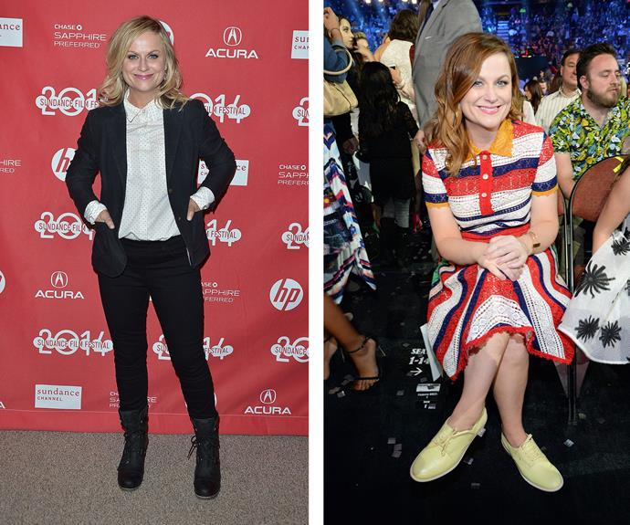 """Amy Poehler, who admits she simply can """"not improvise in heels"""", proves you can do smart and casual without stepping into painful pumps!"""