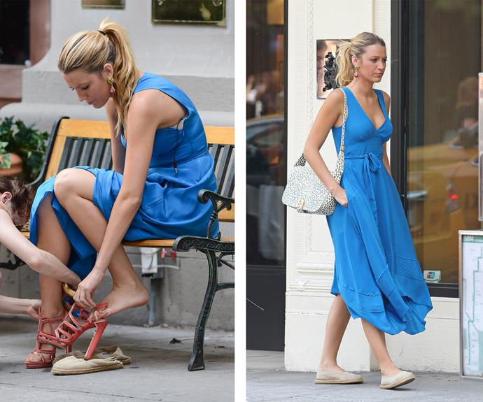 Blake Lively was rarely seen without heels on her hit show *Gossip Girl*, but in between takes, she always has a pair of chic espadrilles on hand.