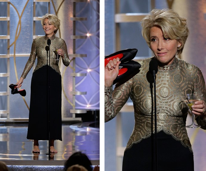 """""""I just want you to know, this red, it's my blood,"""" Emma Thompson said as she presented the award for Best Screenplay at the Golden Globes. **Watch her hilarious speech in the next slide! Gallery continues...**"""